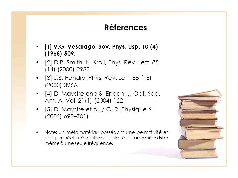 Références [1] V.G. Vesalago, Sov. Phys. Usp. 10 (4) (1968) 509.